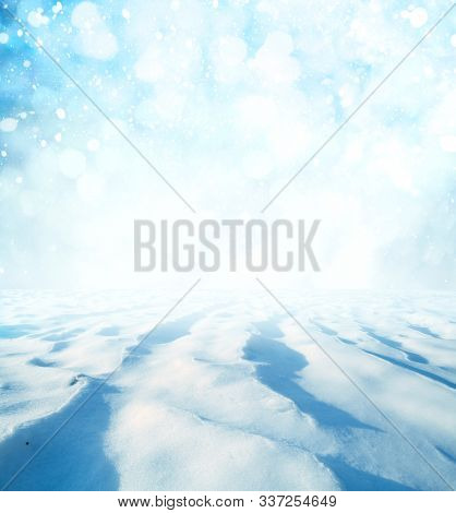 Winter landscape with New Year's bokeh background.Christmas landscape with snow.