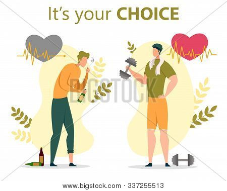 Healthy Or Unhealthy Lifestyle Choice, Bad Habits Quit, Alcohol And Nicotine Addiction Breaking Flat