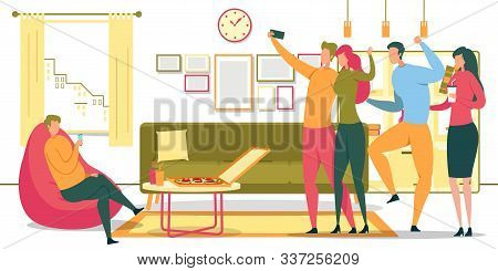 Sedentary Lifestyle, Unhealthy Nutrition, Habits Bad For Health Flat Vector Concept, Man Sitting In