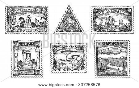 Vintage Postage Stamps Set. Ancient Landscapes, Dragon And Sailing Ship. Retro Old Sketch. Monochrom