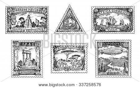 Vintage Postage Stamps Set. Ancient Landscapes, Dragon And Sailing Ship. Retro Old Sketch. Monochrom