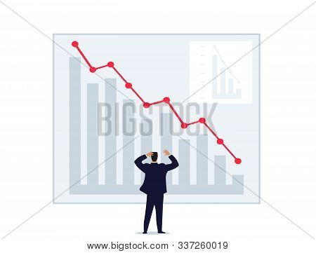 A Man Throws Up His Hands Looking At A Graph Of Falling Prices. World Financial Crisis, Unsuccessful