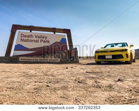 Death Valley National Park, Usa. Nov 2017: Chevrolet Camaro Convertible At The Death Valley National