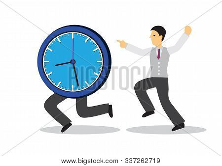 Businessman Running After A Running Clock. Concept Of Time Management Or Urgency. Flat Isolated Vect
