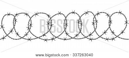 Barbed Wire Security Fence Seamless Pattern Vector. Modern Flexible Barriers Metal Wire With Razor D