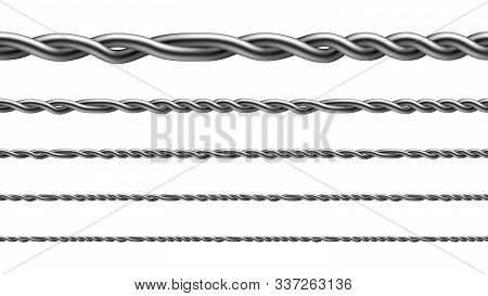 Twisted Iron Wire Seamless Pattern Set Vector. Collection Of Aligned Metallic Wire, Standard Fencing
