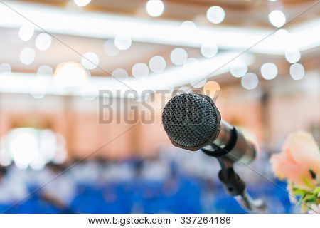 Seminar Conference Concept : Close-up Microphones On Abstract Blurred Of Speech In Conference Meetin