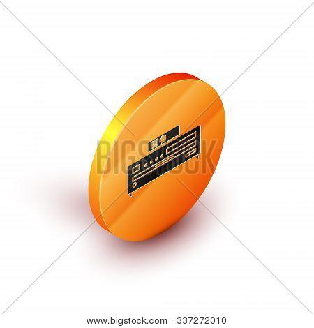 Isometric Music Cd Player Icon Isolated On White Background. Portable Music Device. Orange Circle Bu