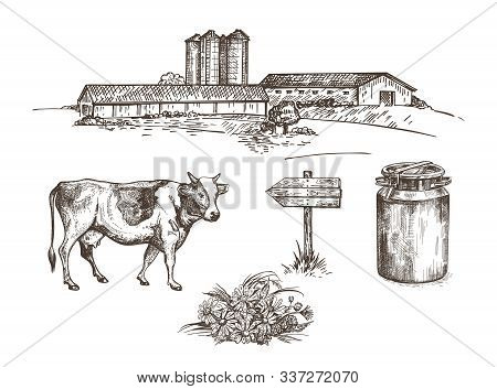 A Farm With Cowsheds And A Grain Elevator, A Cow, A Milk Can, A Wooden Sign, A Bouquet Of Flowers.