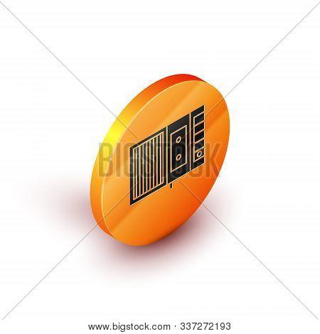 Isometric Music Tape Player Icon Isolated On White Background. Portable Music Device. Orange Circle