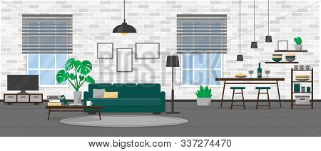 Living Room Interior Design In Modern Loft Style. Apartment With Windows And Furniture. Flat Vector