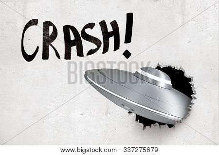 3d Rendering Of Silver Metal Ufo Breaking White Wall With Black Crash Sign Above