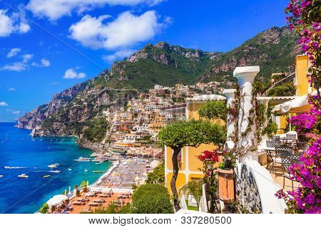 Splendid Amalfi coast - beautiful Positano  popular tourist destination for summer holidays in Italy