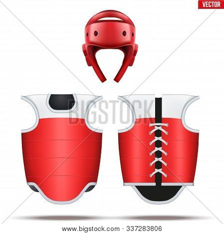 Taekwondo Equipment Set. Helmet With Bodyguard. Front And Back View. Red Color. Fighting Sport Equip