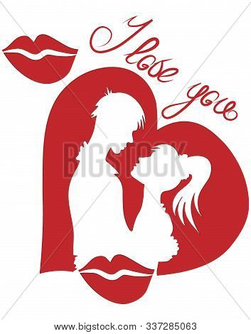 Silhouettes Of Lovers On The Background Of Hearts, Valentines Day