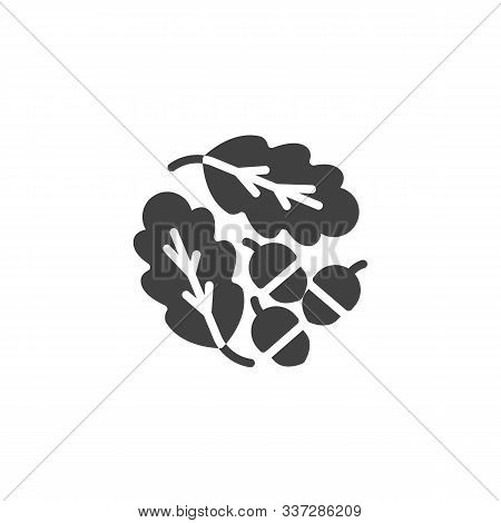 Oak Leaves And Acorns Vector Icon. Filled Flat Sign For Mobile Concept And Web Design. Oak Tree Leav