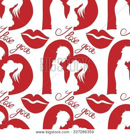 Silhouettes Of Lovers On The Background Of Hearts, Valentines Day, Seamless Pattern