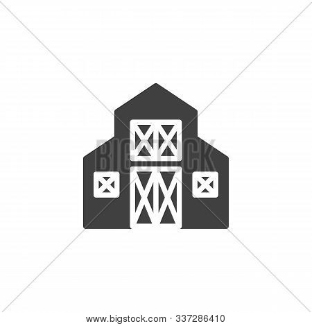 Farm Barn Vector Icon. Storehouse Filled Flat Sign For Mobile Concept And Web Design. Wood Barn Glyp