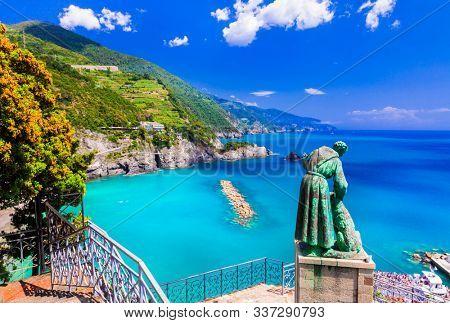 Italian summer holidays - beautiful Monterosso al Mare in Cinque Terre National park in Liguria, Italy