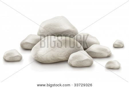 pile of stone isolated on white background. Vector illustration. EPS10. Gradient mesh used. Transparent objects used for shadows and lights drawing.