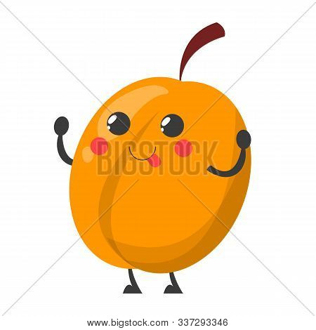 Peach Character Vector Isolated. Happy Fruit With A Face
