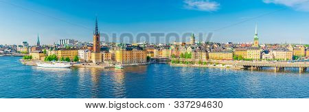 Aerial Scenic Panoramic View Of Stockholm Skyline With Old Town Gamla Stan, Typical Sweden Houses, R