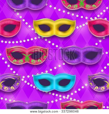 Mardi Gras Endless Pattern. Venetian Painted Carnival Mask Collection. Masquerade Realistic Party De