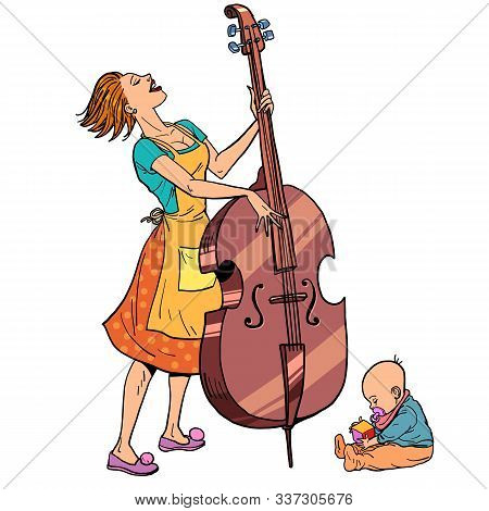 Home Rehearsal. Mother With A Small Child Plays The Double Bass. Comic Cartoon Pop Art Retro Vector
