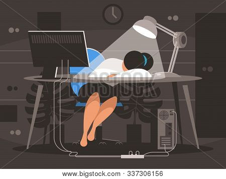 Woman Sleeping At The Workplace Desk In An Office