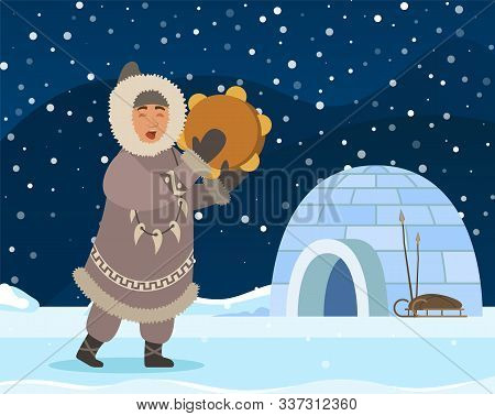 Eskimo Man Stand Near Shelter Igloo. Indigenous North Person In Warm Clothes Like Coat, Gloves And B