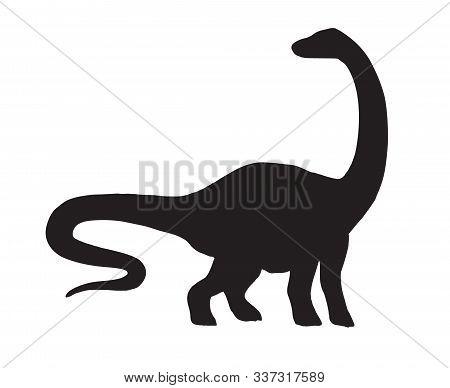 Vector Black Diplodocus Brachiosaurus Dinosaur Silhouette Isolated On White Background
