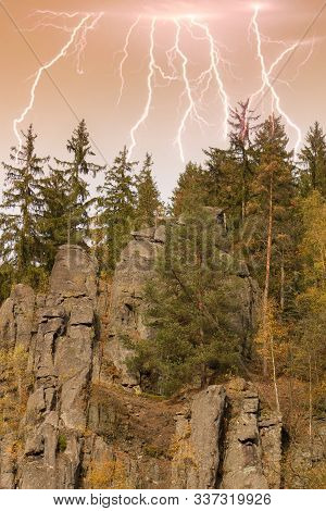 The Granite Rock Town Of Svatoš Rocks And  Lightning / Svatosske Skaly.traditional Cruise Place. Nat