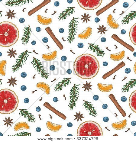 Christmas Seamless Pattern With Blueberry, Grapefruit, Tangerine, Fir Branches And Spices On White B