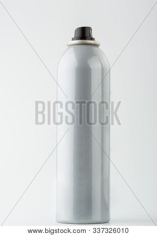 Nice Grey Can Of Hair Spray Isolated On White