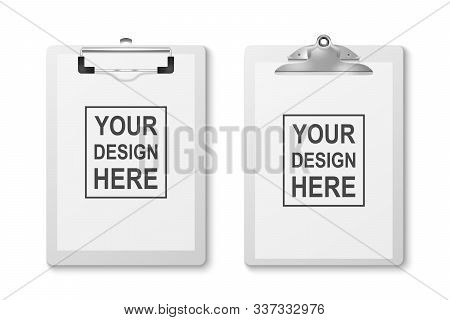 Vector 3d Realistic White Clipboard With Folded Blank Paper And Metal Clip Icon Set Closeup Isolated