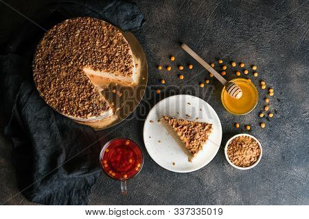 Homemade Honey Cake On A Dark Background Top View Copy Space.