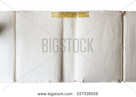 Inside Part Of A White Book Front Cover Isolated On A White Background.