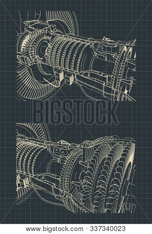 Stylized Vector Illustration Drawings Of A Turbofan Engine. Turbine And Compressor Close Up