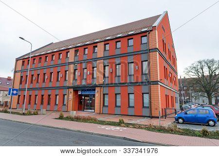 Czarnkow, Wielkopolskie / Poland – December, 03, 2019: Modern Building Of The Tax Office In Central