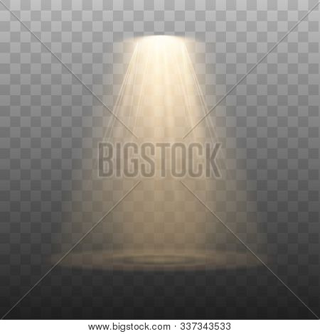 Spotlight Isolated On Transparent Background. Vector Glowing Light Effect With Gold Rays And Beams