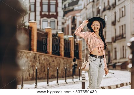 Mirthful Lady In The Street Alone Stock Photo