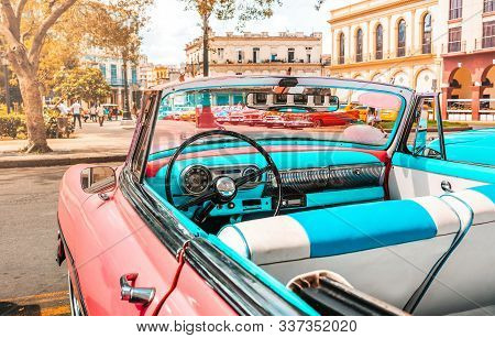 Pink Old American Classic Car In Havana, Cuba