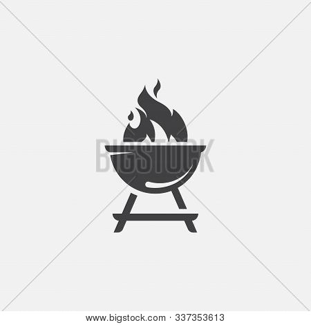 Bbq With Flame Icon, Grill Sign Meat And Food Icon, Barbeque Icon Symbol, Barbeque Icon Vector Illus