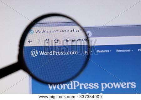Los Angeles, California, Usa - 3 December 2019: Wordpress Website Page. Wordpress.com Logo On Displa