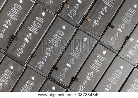St. Petersburg, Russia - December 2, 2019: Close Up Of Row Used Li-ion Polymer Batteries Of Apple Ip