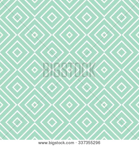 Vector Geometric Seamless Pattern With Squares, Diamonds, Rhombuses, Thin Lines, Grid. Abstract Grap