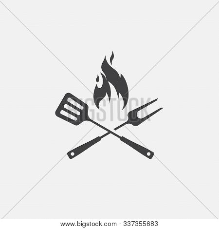 Bbq With Flame Icon, Grill Sign Meat And Food Icon, Fork And Spatula Barbeque Icon Symbol, Barbeque