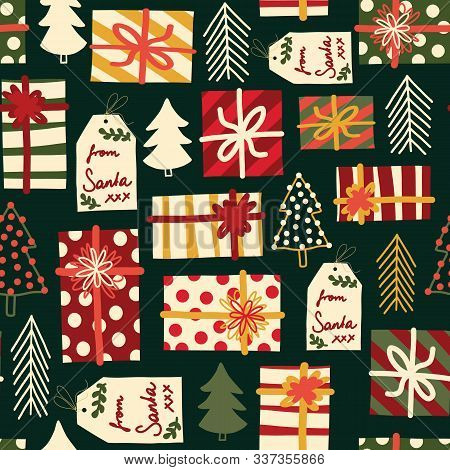 Christmas Gift Boxes, Trees And Tags Seamless Vector Background. Repeating Pattern With Wrapped Pres