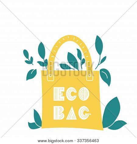 Eco Bag Hand Drawn Doodles Style. Eco Style. No Plastic. Zero Waste Concept Vector Illustration. Iso