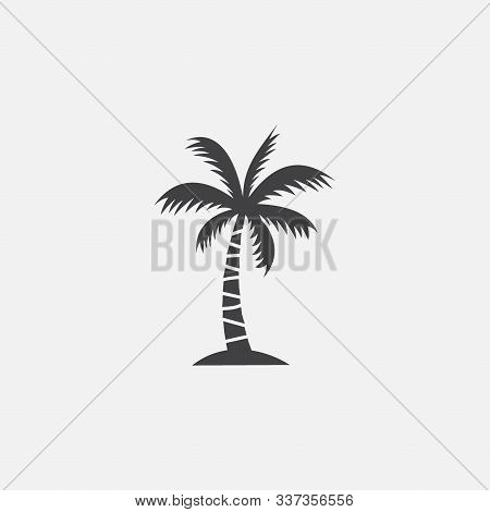 Palm Tree Silhouette Icon Vector, Palm Tree Vector Illustration, Coconut Tree Icon Vector Illustrati